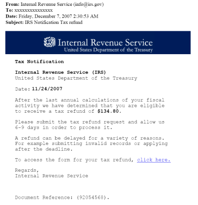 IRS phishing scam